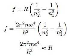 La primera ecuación que se puede ver es la expresión de Rydberg-Ritz, más genérica que la obtenida por Balmer y a la postre más útil para la demostración de Bohr. La segunda ecuación es el valor obtenido por Bohr, en base a la masa del electrón, su carga y la constante de Planck. El valor obtenido teóricamente era muy similar a la constante de Rydberg (R) que era el valor empírico que se manejaba en la época.